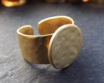 Gold Ring Base, Ring Blank, Hammered Ring Blank, Hammered Ring Base, Adjustable Ring Base, 15mm Pad, Non Tarnish, 22k Matte Gold, 1pc
