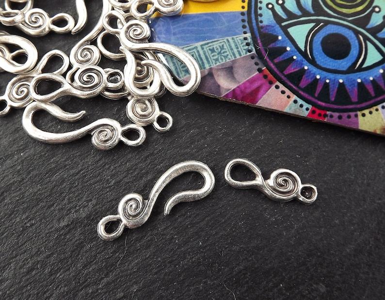 Bracelet Clasp Silver Hook Clasp Set Hook and Eye Clasp 4 sets Necklace clasps Shepherds Hook Clasp Matte Antique Silver Spiral