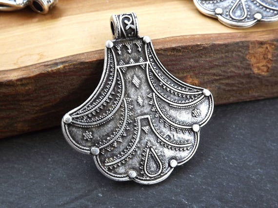 Nepalese Style Artisan Pendant Ethnic Tribal Pattern Rajasthan   Matte Antique Silver Plated   1pc by Etsy