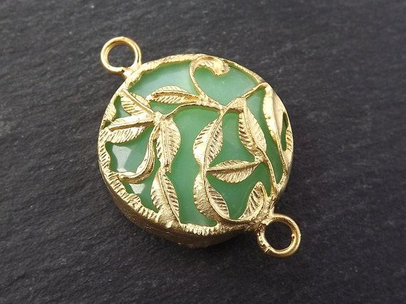 Mint Aqua Green Rustic Leaves Jade Connector    22k Matte Gold Plated Bezel   1pc by Etsy