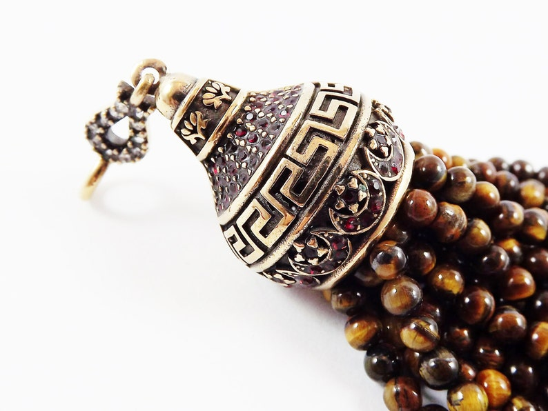Light Antique Bronze 1PC Large Long Tiger Eye Stone Beaded Tassel with Greek Key Pattern Crystal Accents