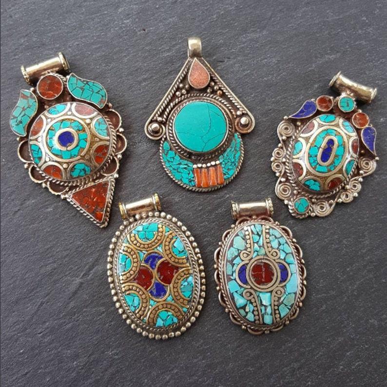 Turquoise pendant Tribal pendant Nepali jewelry gemstone pendant Lapis 1pc Nepalese pendant Tibetan Nepal pendant Coral pendant