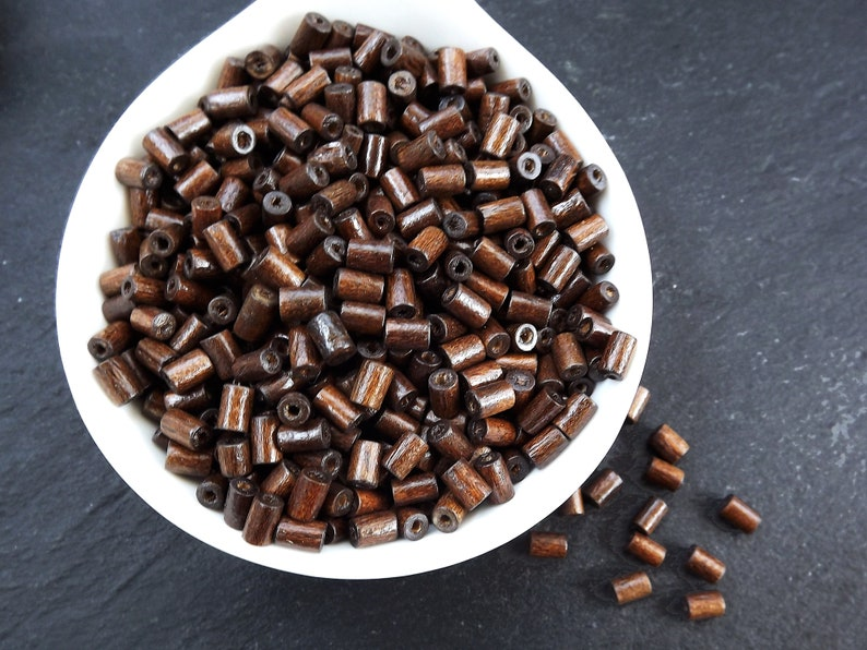 Brown Wooden Beads Choose 50pcs Wooden Spacers 200pcs or 400pcs Brown Wood Tube Beads Satin Varnished Wood Beads 8mm