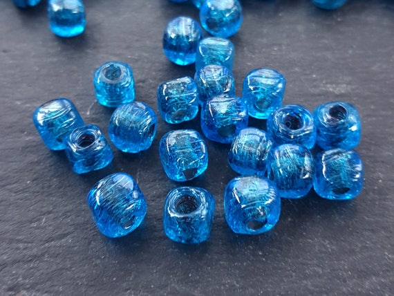 Bulk   30 Aegean Blue Glass Beads Rustic Cube Square Bead Traditional Turkish Artisan Handmade Beading 7mm   Turkish Glass Beads by Etsy