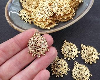 Round Filigree Pendant, Connector Pendants, Chandelier Pendant, Earring Chandelier, Earring Links, Multi Loop, 22k Matte Gold, 4pc