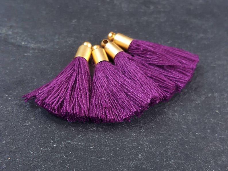NEW CAP 4pc 26mm Mini Violet Purple Soft Thread Tassels Earring Bracelet Tassel Fringe Turkish Findings 22k Matte Gold Plated Cap