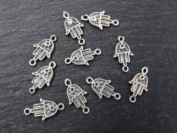 10 Mini Delicate Hamsa Hand Of Fatima Charm Connector Rustic Style   Matte Antique Silver Plated by Etsy