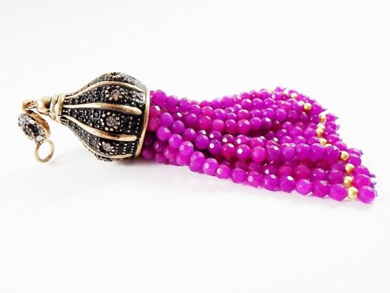 Grande pierre de Jade pompon violet Long Magenta perlé pompon Jade avec des Accents de cristal - Bronze Antique - 1PC b3c45b