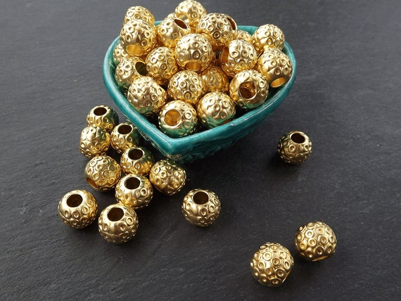 Large Weight Round Circle Dotted Detail Barrel Beads   22k Matte Gold Plated Brass   2pc by Etsy