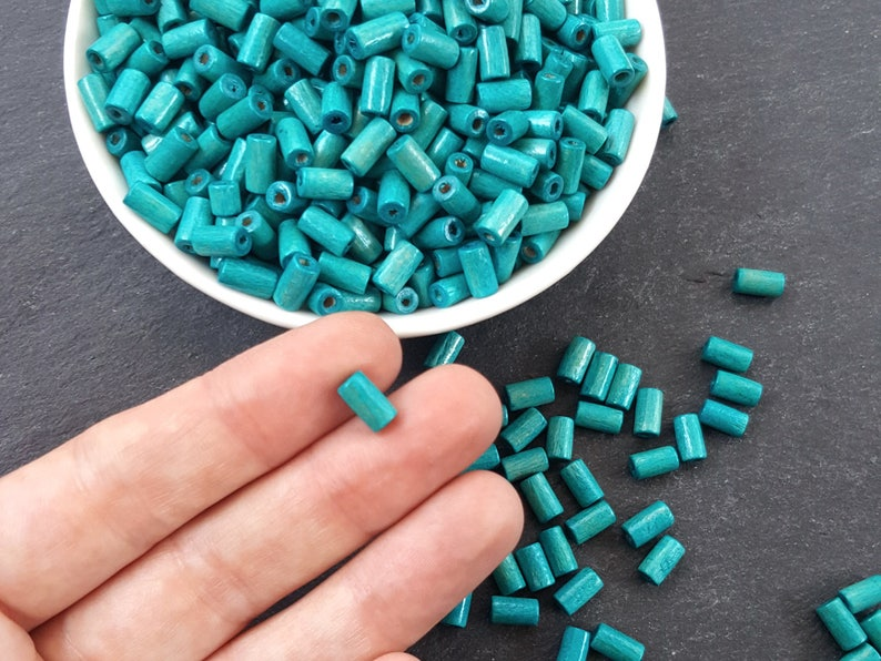200pcs or 400pcs Teal Blue Wood Tube Beads Satin Varnished Plain Simple Round Smooth Ball Wooden Bead Spacers 8mm Choose 50pcs