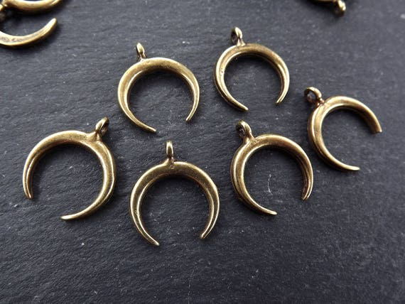 6 Small Crescent Pendant Charms Tribal Double Horn Charms Antique Bronze Plated Turkish Jewelry Making Supplies Findings Components by Etsy