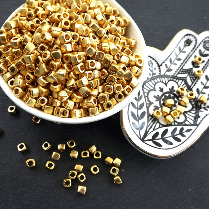 Tarnish Resistant Beads Organic Square Beads 12pc Small Square Nugget Gold Bead Spacers 22k Matte Gold Plated Greek Mykonos Gold Bead