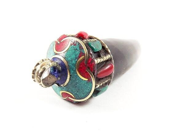 Grande corne noire griffe pendentif Tribal main - népalais fait main Tribal - laiton Antique 891c32