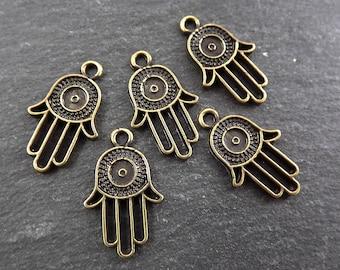 5 Round Evil Eye Hand of Fatima Hamsa Charms - Antique Bronze Plated