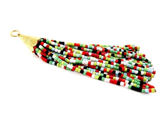 Mélange multicolore Afghan Heishi tibétain Heishi Afghan Tube perles pompon - vert rouge bleu pâle à la main - 22k plaqué or mat Cap - 92 mm = 3.62inches-1PC bbfc93