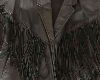 Vintage Black Leather Fringed Jacket