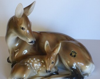 Doe and Fawn Large Deer Figurine By Golden Crown E & R - Austria