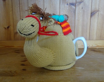 Knitted Tea Cosy Cozy Humphrey the Camel with Blanket and Supplies Shabby Chic