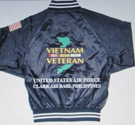 Vietnam: Clark Air Base-Philippines* Air Force w/Shoulder Flag 2-Sided  Black Satin Jacket