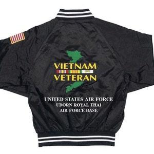 VIETNAM:UDORN ROYAL THAI AIR FORCE BASE* SHOULDER FLAG*2-SIDED SATIN JACKET