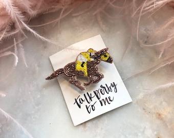 Derby Jewelry - Lapel Pin Yellow Jockey & Horse