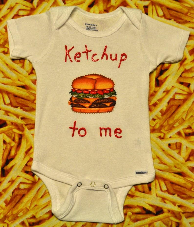 4a7577fad Ketchup to me Onesie Burger Onesie Hamburger Onesie | Etsy