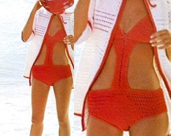 7771c4b8084e5 Vintage Crochet One Piece Bikini - Swimwear Bathing Suit - Floppy Hat - PDF  Instant Download - Beach Cover Up - Digital Pattern - Beach Hat