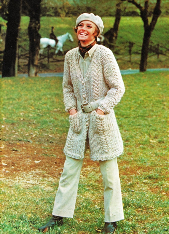Knitting Pattern Chunky Cable Sweater Knitted Jacket Cable Etsy