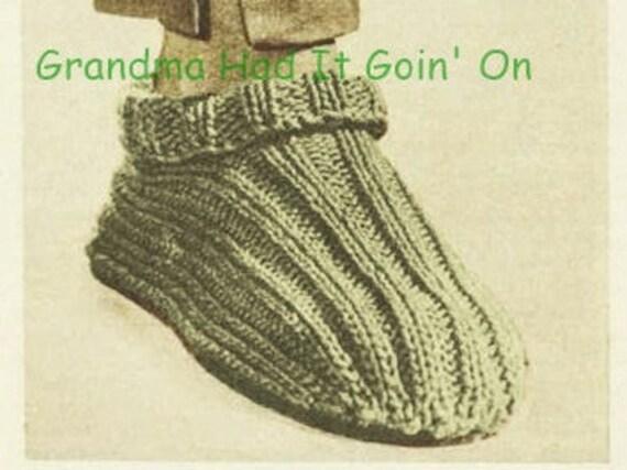 Knitting Pattern Slipper Boots Vintage Mens Slipper Socks Etsy