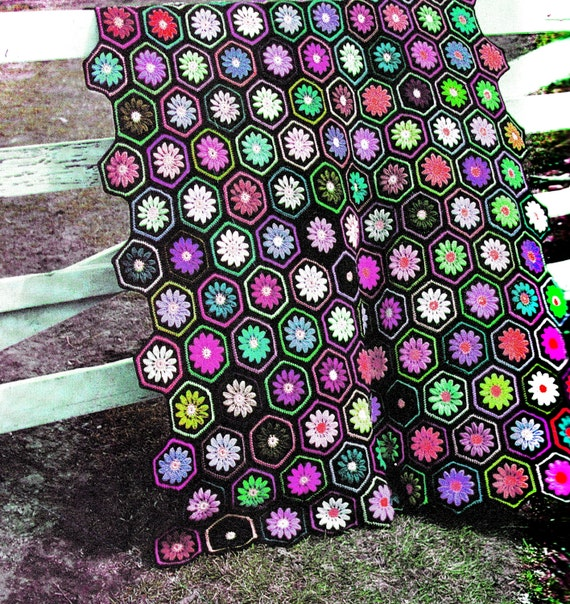 Vintage Crochet Pattern Hexagon Motif Afghan Pdf Instant Etsy
