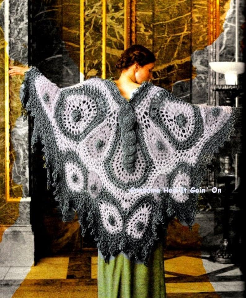 Vintage 70 S Crochet Butterfly Shawl 70 S Bohemian Etsy