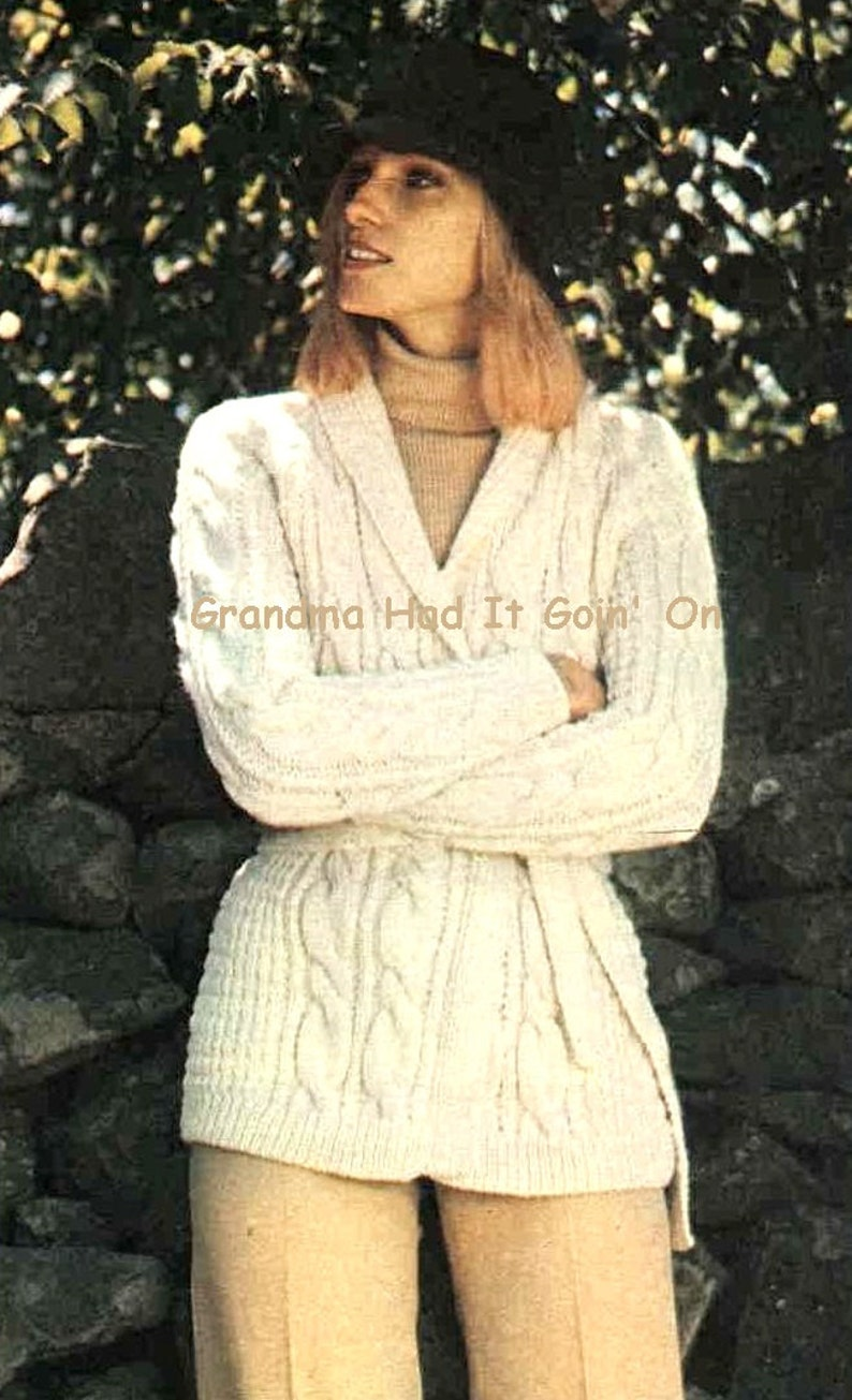 5a8ada520 Wrap Jacket KNITTING PATTERN Chunky Cable Sweater Knitted