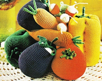 Crochet Food Pattern - Fruit Vegetables - Play Food Childrens Pretend Food - PDF Instant Download - Center Piece - Plush Toy Food