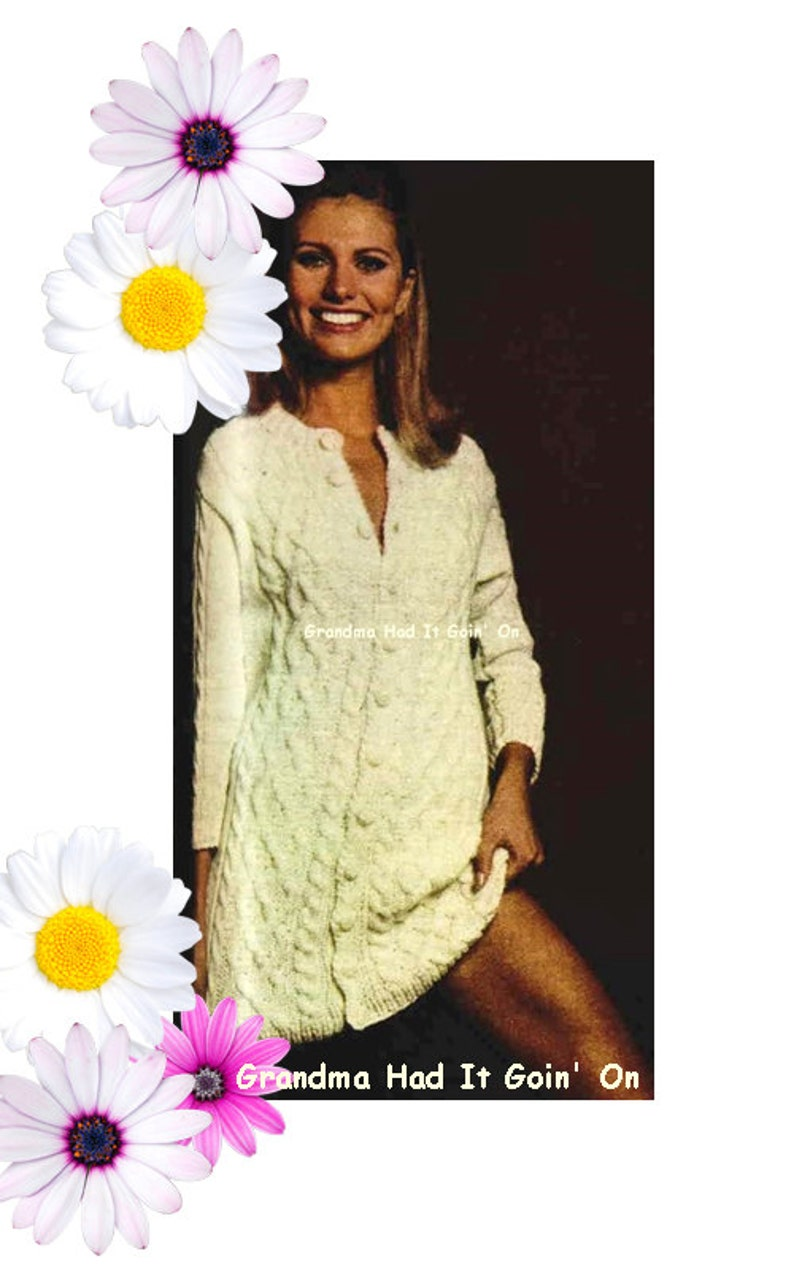 b3234a353410 KNITTING PATTERN Aran Button Up Sweater Dress Cable Dress