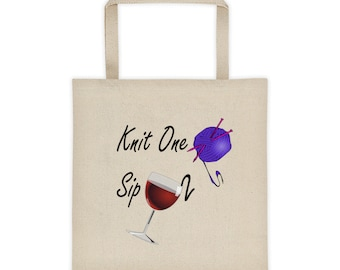 Knit One Sip Two Wine Yarn Tote Bag Holder - Knitting Needles Yarn Lover Gift Bag - Wine Glass Wine Drinker Knitter Tote Bag - Yarn Holder