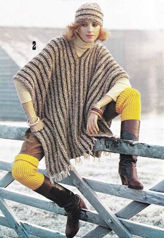 Vintage Poncho Pattern Knitting Pattern Pdf Instant Etsy