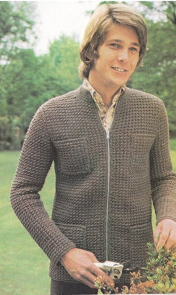 crochet pattern pdf digital download mens jacket