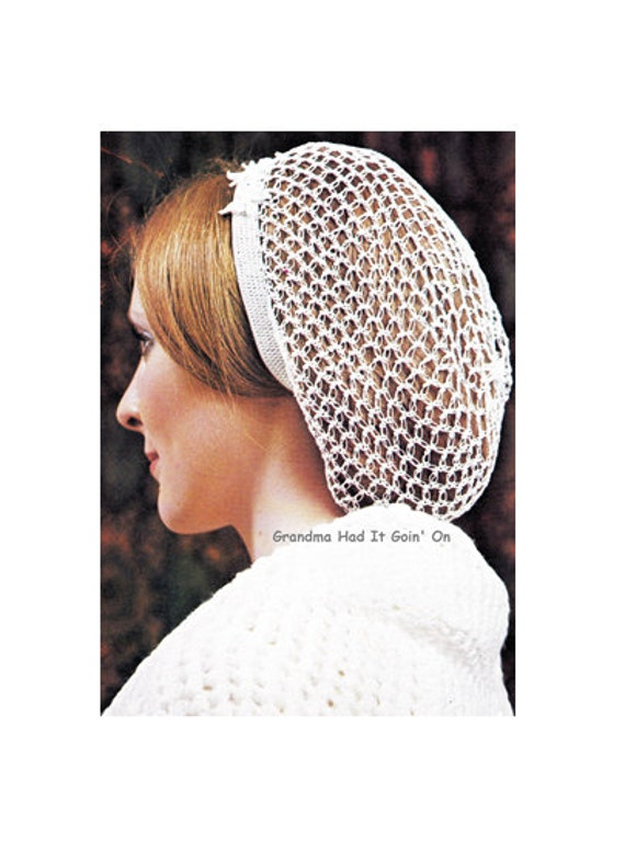 Vintage Snood Hair Net Hat Crochet Pattern Hair Net Hair Etsy Impressive Hair Crochet Patterns