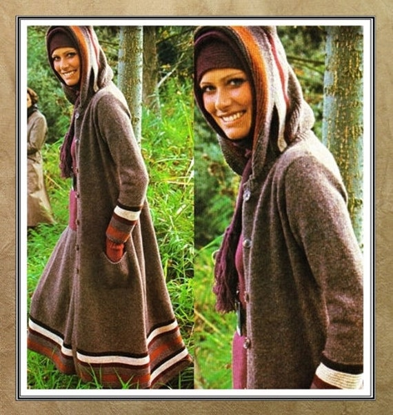 Hooded Coat Knitting Sweater Pattern Vintage Boho Long Skirt Etsy