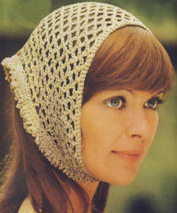 Crochet Pattern Vintage Head Scarf Hair Net Head Wrap Etsy
