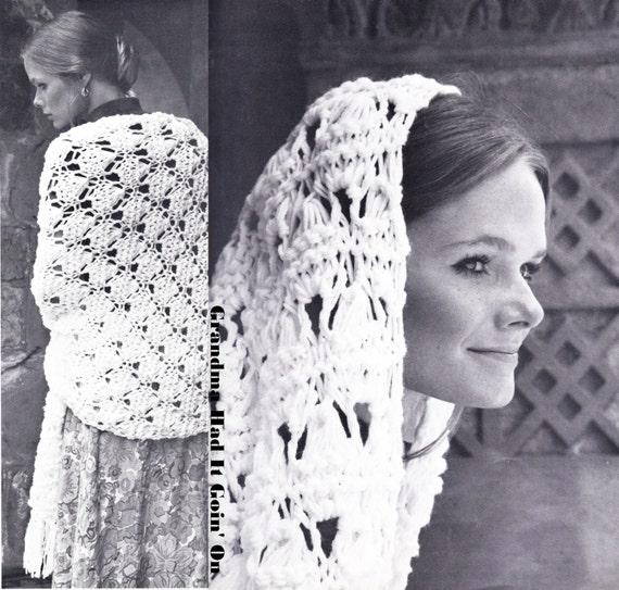 Crochet Knitting Shawl Pattern Vintage Wedding Shawl Wrap Etsy