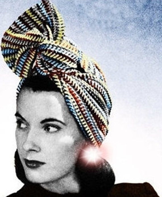 40s Turban Head Scarf Crochet Pattern Hair Net Etsy