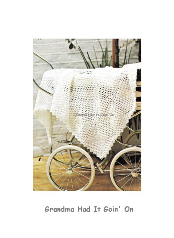Vintage Crochet Baby Blanket Pattern Baby Afghan Stroller Etsy