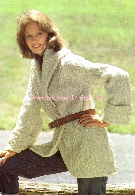 Aran Cardigan Knitting Pattern Vintage Sweater Coat Wrap Etsy