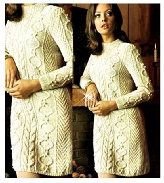 Pattern Cable Sweater Knitting VintageEtsy Aran Dress IWED29H
