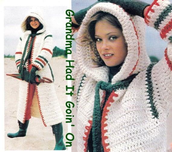 Vintage 70s Crochet Cowl Hooded Coat Pdf Instant Etsy