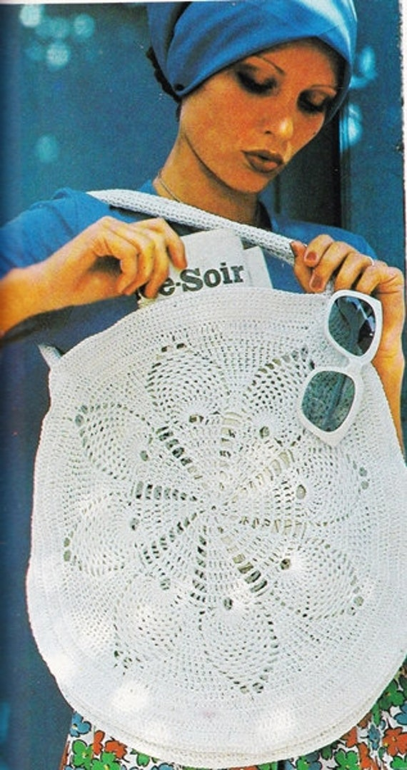 Vintage Round Summer Beach Bag Crochet Pattern Crochet Purse Etsy