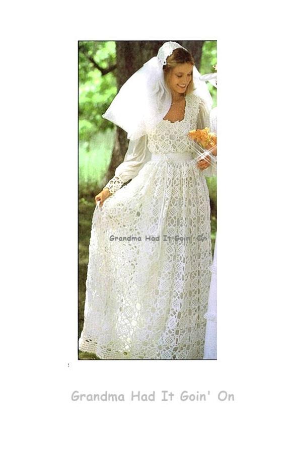Crochet Wedding Dress Bridal Gown Wedding Pattern 1970s | Etsy