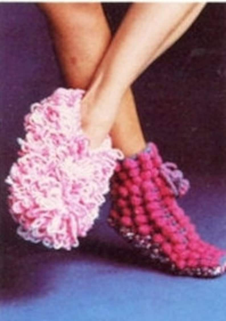 e94f4eca55f9a CROCHET PATTERN - Popcorn Slippers - Pom Pom Socks - Loopy Dust Mop  Slippers - PDF Instant Download - Loop Yarn - Slipper Pattern Lot - Vtg