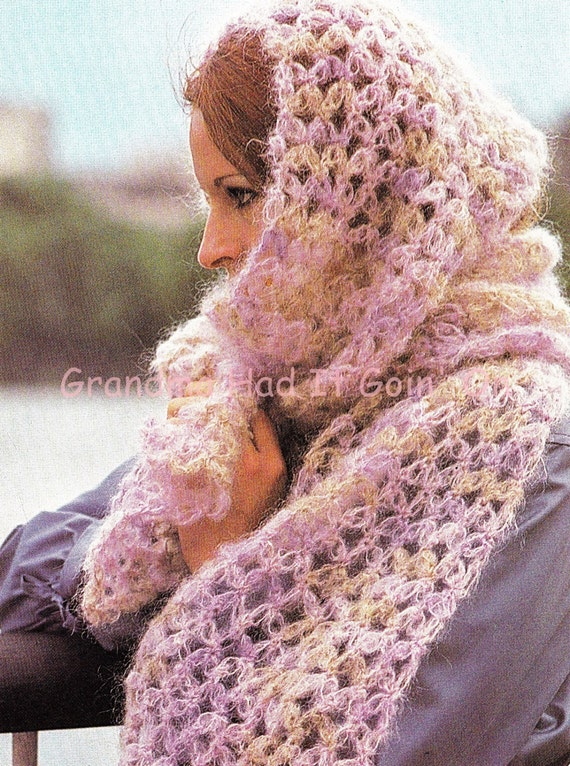Crochet Pattern Vintage Pattern Mohair Scarf Pdf Instant Etsy